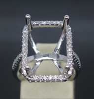 Wholesale EMERALD CUT MM SOLID K WHITE GOLD NATURAL DIAMOND SEMI MOUNT SETTING RING