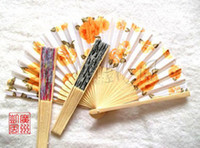 Wholesale Factory price High grade Watercolor painting wooden folding fan Gift small household products mixed batch Sandalwood fan