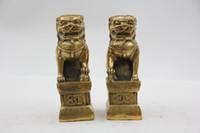 Wholesale Oriental Bronze Statue Sculpture Collectible Collection Beijing Lions T023