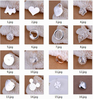 Wholesale Fashion Silver Charms Pendants Jewelry Mix Style Dog Tag Heart Flower Starfish Leaf Necklaces Pendants