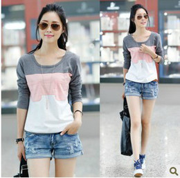 Free Shipping factory directly selling blue and gray color cotton t-shirt,fashion patchwork stripe o-neck long-sleeve pullover women T-shirt