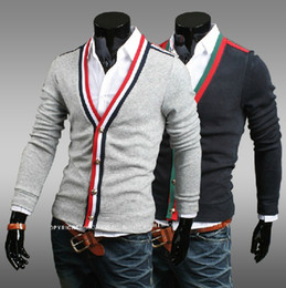 Wholesale New monde Men s Sweaters Slim Long Sleeve Cardigan V_Neck Harmonia placket Knitwear color Grey size M L XL XXL