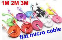 motorola nokia DHL  blackberry HOT Sale 1M 2M 3M micro usb data and charging flat noodle cable for htc motorola LG nokia DHL samsung blackberry 100pcs
