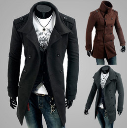 Wholesale NEW high quality Men Casual Shoulder strap double breasted trench Long coat lapel slim fit Trench Coats Unique Hooded Trench coats