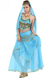 Wholesale Hot Sale Dance Wear Chiffon Belly Dance Women s Bead Performance Ladies Solid Sequins Stage Wear Sleeveless Pieces Per Suit GWY8