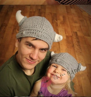 Wholesale lovely cotton baby boy girl horn hats and caps kids knitted beanie cap for children to keep warm