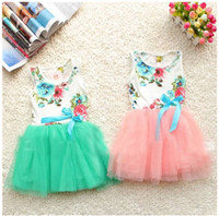Wholesale 2015 new girls dresses girl tutu dress baby clothing flowers kids cotton lace dress tutu skirt Girls dresses