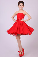 Bow Knot Sleeveless Sweetheart 2014 Bridesmaid Dresses Cheap Sexy Short Chiffon Strapless Knee Length Short Party Dance Cocktail Prom Dress Gown 6 size 1