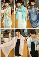 Wholesale Fashion women long scarf blue and white porcelain Velvet chiffon scarves Wraps shawl opera cape cappa collar