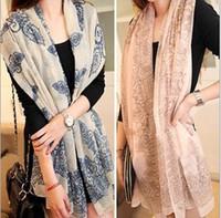 Wholesale Fashion women long scarf blue and white porcelain Velvet chiffon scarves Wraps shawl opera cape cappa collar wholsale