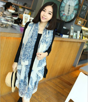 Wholesale New Fashion women long scarf blue and white porcelain Velvet chiffon scarves Wraps shawl opera cape cappa collar wholsale