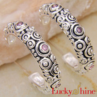 Wholesale New Arrival Top Fashion No Brand South American Gift Fashion European And American Style Antique Silver Hoop Pink Topaz Earrings E0144