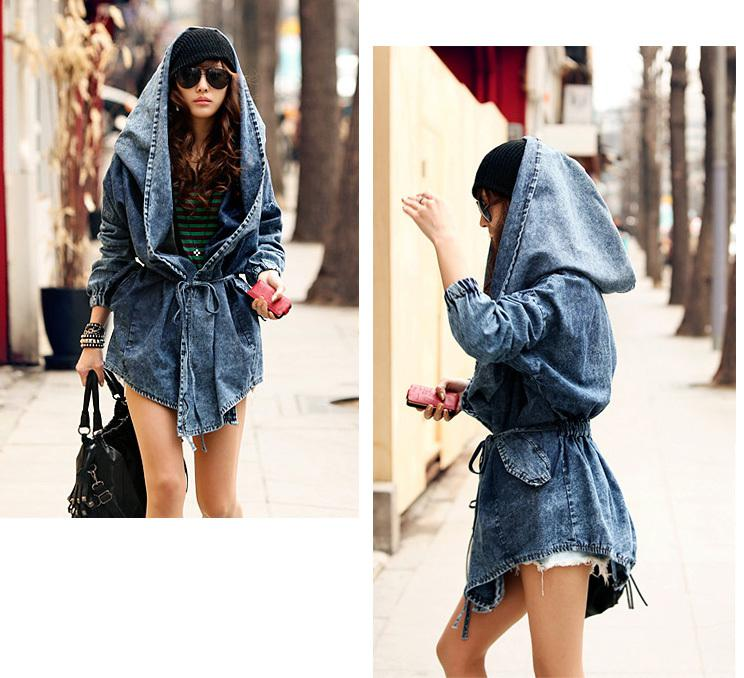 Fashion Women Lady Denim Trench Coat Hoodie Hooded Outerwear Jean Jacket Cool Online with $34.44/Piece on Gldzkj's Store | DHgate.com