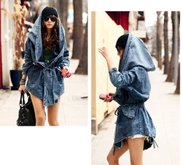 Wholesale Fashion Women Lady Denim Trench Coat Hoodie Hooded Outerwear Jean Jacket Cool