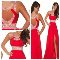 Wholesale Sexy Front Side slit Beads Long Red Chiffon Evening Ball Cocktail Prom Bridesmaid Dresses Wedding Gown Lace Prom Ball Gown