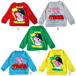 Wholesale new Peppa Pig children cartoon long sleeved T shirt kinds of color at least