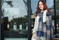 Wholesale Brand new men women cashmere wool long scarf grid gradient color scarves unisex autumn winter wraps shawl opera capecharm cappa collars
