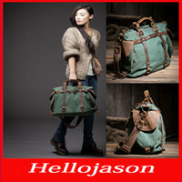 Wholesale 8056 Hot fashion Women lady vintage retro canvas leather weekend shoulder bag Duffle Travel tote bag