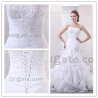 Cheap Mermaid Organza Wedding Dress Ruffles Real Photo