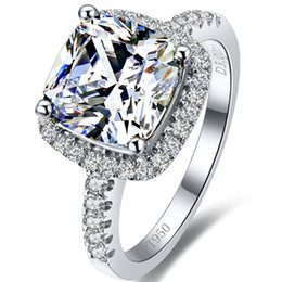 Wholesale 3 ct Princess cut Stamp PT950 Best Quality Silver Synthetic Diamond Ring,Engagement Ring,Wedding Ring,Proposal,Engagement,Wedding