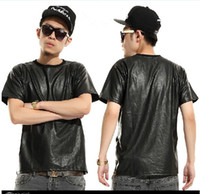 Wholesale Brand hip hop short sleeve shirts pu leather leather men zipper pure black short sleeve T shirt tee