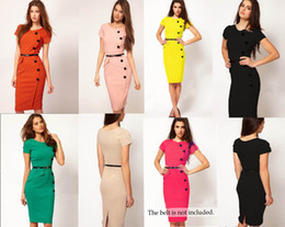 Wholesale 2013 Formal button Pencil Vintage Pinup Bodycon Fitted Party Shift Sheath Knee_Length Career Plus Size Dresses