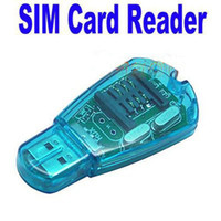 Wholesale USB SIM Card Reader Writer Edit Backup telephone directory and SMS support GSM CDMA WCDMA Card Reader Blue dropshipping