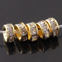 Wholesale gold plated A mm Flat Side Rhinestone Rondelle Spacers Beads