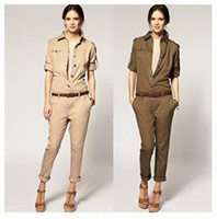 Long Sleeve Pants Unisex Sexy Elegant jumpsuit women 2013 Army green Khaki Fashion Lady rompers bodysuit
