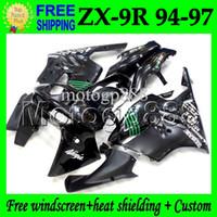 al por mayor 1996 carenados personalizados zx9r-Verde 2gifts Custom NUEVA Negro Para KAWASAKI NINJA ZX9R 94-97 ZX-9R 94 95 96 97 MP # 1518 ZX 9R cuerpo 9 R 1994 NEGRO Kit 1995 1996 1997 carenado