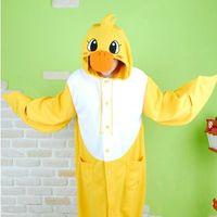 Wholesale Yellow duck Cosplay Costumes Animal Leopard Kigurumi Anime Pyjamas Sleepwear Super soft pajamas nightclothes Cartoon Cute Night suit