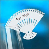 Wholesale Laser Cut Fan Place Cards Wine Glass Markers Wedding Cake Toppers Party Decorations Paper Table Name Cards X