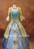 belle dance costumes - Free ship Medieval Renaissance Gown queen Dress stage dance Costume Victorian Gothic Lolita Marie Antoinette civil war Colonial Belle Ball