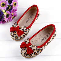 Wholesale 2013 Childrens Leopard Bowknot Shoes Girl Princess Footwear Slip On Flats SZ able mix any size