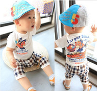 Cheap 2013 new summer children's clothing plaid leisure suit boy suit baby