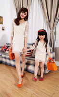 Wholesale Mother And Daughter Summer Clothing Lace Dress Family Dress Alikes Fashion Banquet Party Dress Mom Dress Baby Dress Skirts