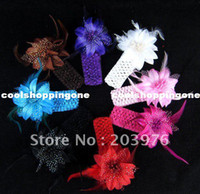Wholesale 12pcs Flower With Feather Baby Hairbands Girls Feather Headband Infant Knitting Hair Weave Baby Hair Accessiries A004