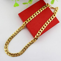Wholesale 2013 New Arrival Fashion Chunky Chokers Necklace Brief K Gold Plated Titanium Steel Chain Necklaces For Men N152