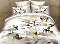 achat en gros de feuilles reine papillon-Luxueux 3d blanc fleur papillon literie 100% coton peinture à l'huile pleine / reine filles lit dans un sac drap housse couette ensembles