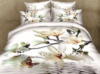 Wholesale luxurious d white flower butterfly bedding set cotton oil painting full queen girls bed in a bag bed sheet comforter sets