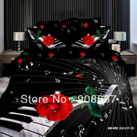 Wholesale Hot Sale red rose black piano music notes bedding set cotton oil painting queen duvet quilt cover sheet bed linen comforter sets pc