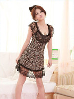 Wholesale Sexy Girls Nightgown - Top-rated sexy women girls lacework sleepwear sleepshirts 1pcs romance leopard print babydolls underwear Chiffon Summer free size