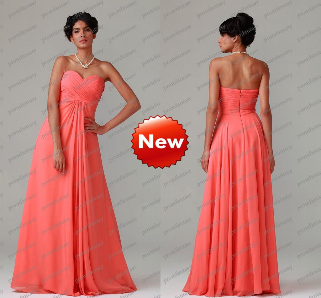 Hot Coral Pink Chiffon A Line Long Cheap Beach Bridesmaid Formal ...