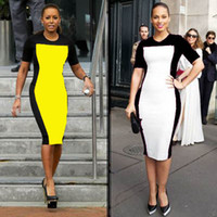 Wholesale New Woman Summer Plus size Celeb Evening Fitted Formal Party Ladies Pencil Bodycon Slimming Patchwork Dress