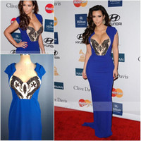 Sheath/Column Sexy Sequin Real Pictures Sexy Royal Blue Sequined Concise Grammy Awards Celebrity Dresses Kim Kardashian Lacma Evening Gowns Long