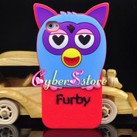 Wholesale Cute D Cartoon Furby Owl Night Owl Soft Silicone Silicon Case Cover for iPhone G S