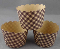 Wholesale brown grid bulk High temperature baking paper cupcake liners cases wrappers Muffin Cake Tray