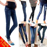 Wholesale 15 Styles Elastic pregnant maternity jeans belly pants women s clothing Long denim pencil trousers capris leggings