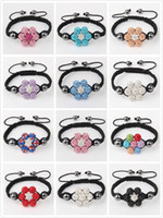 Wholesale 12Pcs Colors Mixed Czech Crystal Flower Shamballa Bracelet Disco Hip Hop Ball Magnetic Bead Macrame Friendship Gift