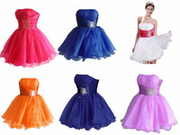 A-Line Organza Sexy More Colors Really Cheap Strapless Short Organza Beads Prom Dresses Homecoming Graduation Dresses Under $50 Fashion Real Images Lovely